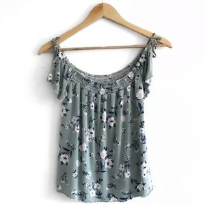 AE | Floral Soft & Sexy Ruffle Sleeve Tank | S